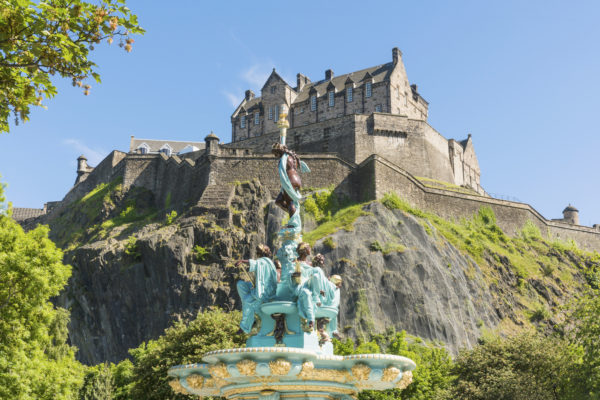 Edinburgh Castle and the Ross Fountain in Princes Street Gardens